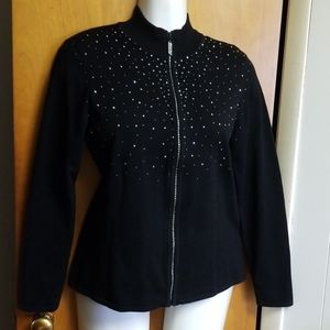 BELLDINI Black & Rhinestones zip up sweater XL
